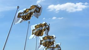 Waving flags with Harley-Davidson logo against sky, seamless loop. 4K editorial animation. Waving flags with Harley-Davidson logo against sky, seamless loop. 4K royalty free illustration