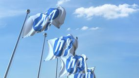 Waving flags with HP logo against sky, seamless loop. 4K editorial animation. Waving flags with HP logo against sky, seamless loop. 4K editorial clip royalty free illustration