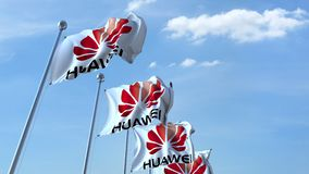 Waving flags with Huawei logo against sky, seamless loop. 4K editorial animation. Waving flags with Huawei logo against sky, seamless loop. 4K editorial clip stock illustration
