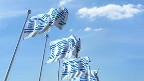 Waving flags with IBM logo against sky, seamless loop. 4K editorial animation. Waving flags with IBM logo against sky, seamless loop. 4K editorial clip stock illustration