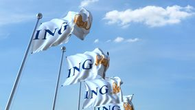 Waving flags with ING logo against sky, seamless loop. 4K editorial animation. Waving flags with ING logo against sky, seamless loop. 4K editorial clip vector illustration
