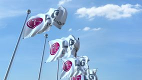 Waving flags with LG logo against sky, seamless loop. 4K editorial animation. Waving flags with LG logo against sky, seamless loop. 4K editorial clip stock illustration