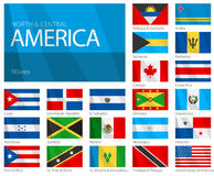 Waving Flags of North & Central American Countries. Design Waves & No Borders Stock Image