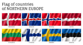 Waving flags of Northern countries. Royalty Free Stock Photo