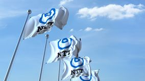 Waving flags with NTT logo against sky, seamless loop. 4K editorial animation. Waving flags with NTT logo against sky, seamless loop. 4K editorial clip vector illustration