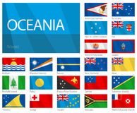 Waving Flags of Oceania Countries. Design WAVES. Stock Images