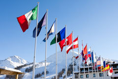 Waving flags in the snow   - Stock Images