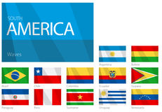 Waving Flags of South American Countries. Design Waves & No Borders Royalty Free Stock Photos