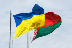 Waving flags of Ukraine and Belarus Stock Image