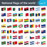 Waving flags of the world. Collection of flags - full set of national flags. Waving flags of the world part 1. Collection of flags - full set of national flags Royalty Free Stock Photo