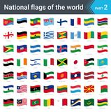 Waving flags of the world. Collection of flags - full set of national flags. Waving flags of the world part 2. Collection of flags - full set of national flags Stock Images
