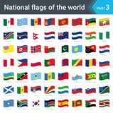Waving flags of the world. Collection of flags - full set of national flags. Waving flags of the world part 3. Collection of flags - full set of national flags Royalty Free Stock Images