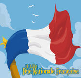 Waving French Flag Up in the Sky in National Day, Vector Illustration Stock Images