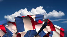 Waving French Flags stock video