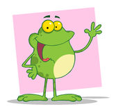 Waving frog over pink Royalty Free Stock Images