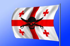 Waving pirate flag combined with Georgian flag. Waving Georgian flag combined with the black pirate image of Jolly Roger with cutlasses Royalty Free Stock Photography