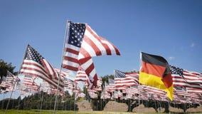 Waving german flag in between american flags. diplomatic concept stock video footage