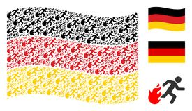 Waving German Flag Collage of Fired Running Man Icons. Waving Germany official flag. Vector fired running man design elements are arranged into mosaic Germany Stock Photo