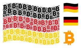 Waving German Flag Mosaic of Bitcoin Items. Waving German official flag. Vector Bitcoin elements are organized into mosaic Germany flag collage. Patriotic Royalty Free Stock Photos