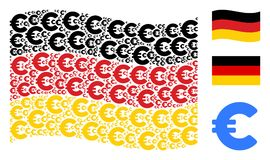 Waving German Flag Mosaic of Euro Icons. Waving German official flag. Vector Euro design elements are combined into conceptual Germany flag abstraction Stock Photography