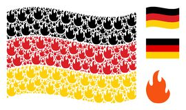 Waving German Flag Pattern of Fire Flame Items. Waving Germany official flag. Vector fire flame icons are arranged into geometric Germany flag collage. Patriotic Stock Photos