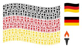 Waving German Flag Pattern of Fire Torch Items. Waving German state flag. Vector fire torch elements are placed into geometric Germany flag collage. Patriotic Royalty Free Stock Photography