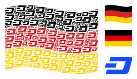 Waving Germany Flag Collage of Dash Currency Items. Waving German state flag. Vector Dash currency icons are scattered into conceptual Germany flag illustration Royalty Free Stock Photos
