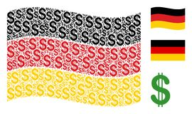 Waving Germany Flag Collage of Dollar Icons. Waving German state flag. Vector dollar icons are placed into geometric Germany flag illustration. Patriotic collage Stock Image