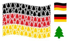 Waving Germany Flag Collage of Fir-Tree Icons. Waving Germany state flag. Vector fir-tree items are scattered into geometric Germany flag abstraction. Patriotic Royalty Free Stock Images