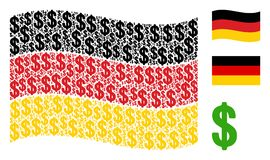 Waving Germany Flag Mosaic of Dollar Items. Waving Germany state flag. Vector dollar pictograms are organized into mosaic German flag composition. Patriotic Royalty Free Stock Photography