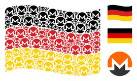 Waving Germany Flag Mosaic of Monero Currency Icons. Waving Germany state flag. Vector Monero currency elements are organized into conceptual Germany flag Stock Photography