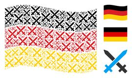 Waving Germany Flag Pattern of Crossing Swords Items. Waving Germany state flag. Vector crossing swords icons are scattered into conceptual Germany flag royalty free illustration