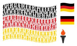 Waving Germany Flag Pattern of Freedom Fire Torch Items. Waving Germany flag. Vector freedom fire torch icons are organized into mosaic German flag abstraction Royalty Free Stock Photos