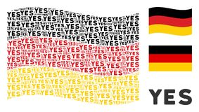 Waving Germany Flag Pattern of Yes Text Items. Waving Germany flag. Vector Yes text design elements are united into geometric German flag illustration. Patriotic Stock Image