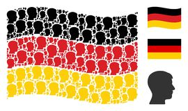 Waving German Flag Collage of Man Head Profile Icons. Waving Germany state flag. Vector man head profile icons are placed into mosaic Germany flag abstraction Stock Images