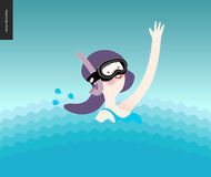 Waving girl in diving mask in the water Stock Photography