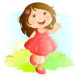 Waving girl Royalty Free Stock Photos