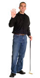 Waving Golfer. A young golfer waving at somebody, isolated against a white background Royalty Free Stock Photography