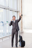 Waving good bye at airport Stock Photography