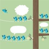 Waving goodbye. Tree with many birds and one flying away while the others are waving the bird goodbye. Vector illustration Royalty Free Stock Images
