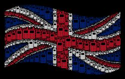 Waving British Flag Mosaic of Cell Phone Items. Waving Great Britain flag on a black background. Vector cell phone elements are grouped into geometric UK flag Stock Image