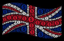Waving Great Britain Flag Mosaic of Financial Seal Items. Waving Great Britain official flag on a black background. Vector financial seal icons are formed into Stock Photography