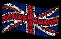 Waving Great Britain Flag Mosaic of Smiled Sticker Icons. Waving English state flag on a black background. Vector smiled sticker items are united into mosaic UK stock illustration