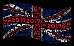 Waving Great Britain Flag Mosaic of 2019 Year Text Items stock illustration