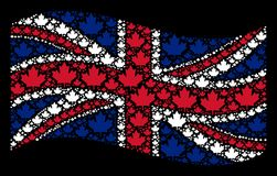 Waving Great Britain Flag Pattern of Maple Leaf Icons. Waving Great Britain flag on a black background. Vector maple leaf icons are combined into geometric Royalty Free Illustration