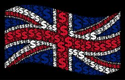 Waving British Flag Pattern of Dollar Icons. Waving Great Britain state flag on a black background. Vector dollar items are combined into mosaic Great Britain Stock Image