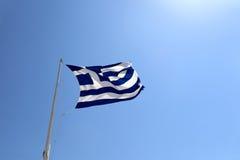 Waving Greek flag stock photography