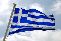 Waving Greek Flag Royalty Free Stock Photography