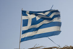 Waving greek flag, blue and white stripes Royalty Free Stock Photos