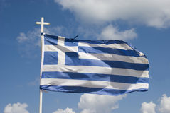 Waving greek flag, blue and white stripes Stock Photography